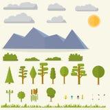 Plan uppsättning av landskapbeståndsdelar stock illustrationer