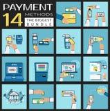 Plan uppsättning för begreppsvektorillustrationer av betalningmetoder liksom kreditkorten, nfc, mobil app, atm, terminal, website Arkivbilder