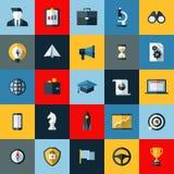 Plan uppsättning för designvektorsymboler av SEO-beståndsdelar Royaltyfria Bilder