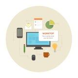 Plan uppsättning för pictograms för designkontorsarbete Arkivbild