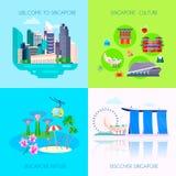 Plan uppsättning för Singapore kultursymbol royaltyfri illustrationer