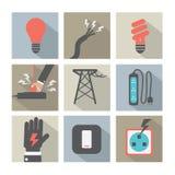 Plan uppsättning för symboler för designelektricitetsmakt royaltyfri illustrationer