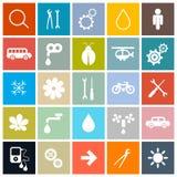 Plan uppsättning för symboler för designfyrkantvektor Royaltyfria Bilder