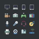 Plan uppsättning för symboler för elektroniska apparater för färgstil Arkivbilder