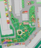 Plan of urban yard with trees, flowerbed and playgrounds. Stock Photography
