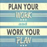 Plan uw werk, werk uw Plan Stock Foto's
