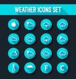 Plan vädersymbolsuppsättning royaltyfri illustrationer