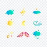 Plan vädersymbolsuppsättning Plana symboler på mörk bakgrund Arkivbild