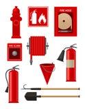 Plan vectoeuppsättning av brandbekämpningobjekt Brandmanhjälpmedel Vattenpost, slang, brandsläckaretecken och larm, handtag Arkivfoton