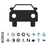 Plan vektorsymbol för bil med bonusen Royaltyfria Bilder