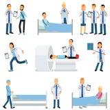 Plan vektorteckenuppsättning av medicinska arbetare och sjukt folk i olika lägen royaltyfri illustrationer