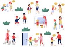 Plan vektoruppsättning av artiga barn i olika lägen Ungar med bra sätt Pyser och flickor som hjälper vuxna människor royaltyfri illustrationer