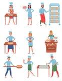 Plan vektoruppsättning av bagaretecken Lyckligt folk i funktionsduglig likformig Unga män och kvinnor som arbetar i bageri stock illustrationer