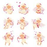 Plan vektoruppsättning av den förtjusande kupidonet i olika handlingar Ängel av förälskelse Tecknad filmliten flicka med vingar,  vektor illustrationer