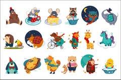 Plan vektoruppsättning av felika djur i olika handlingar Gulliga tecknad filmtecken Färgrik design för barnboken, tryck royaltyfri illustrationer