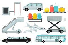 Plan vektoruppsättning av flygplatsbeståndsdelar Transport som stiger ombord trappa, karusell med resväskor, stolar, flygplanet o royaltyfri illustrationer