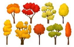 Plan vektoruppsättning av höstträd med ljusa sidor Skogväxter för mobil lek Trees som växer från laken, bevattnar stock illustrationer