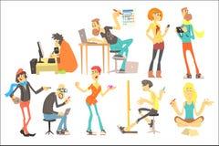 Plan vektoruppsättning av idérikt folk för tecknad film Programmerare konstnär, illustratör, formgivare, fotograf, författare, mo royaltyfri illustrationer