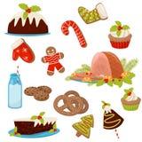 Plan vektoruppsättning av jul mat och drinkar Aptitretande skinka, hemlagade kakor, kringlor, godisrotting, mjölkar, kakor och royaltyfri illustrationer
