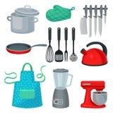 Plan vektoruppsättning av kitchenware, den moderna elektriska anordningen och det skyddande plagget Matlagningredskap Köktema royaltyfri illustrationer