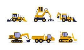 Plan vektoruppsättning av konstruktionsutrustning Grävskopan backhoeladdare, vaggar lastbilen Tungt maskineri för byggande royaltyfri illustrationer