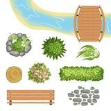 Plan vektoruppsättning av landskapbeståndsdelar Träbro och bänk, stubbe, flod, gröna buskar och blommor, stenbana överkant Royaltyfri Fotografi