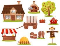 Plan vektoruppsättning av lantgårdsymboler Litet hus, trä-avfyrad ugn, fruktträd, hög av hö, stånd stock illustrationer