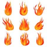 Plan vektoruppsättning av ljusa röd-apelsin bränder Varma flamma flammor burning campfires Tecknad filmsymbol av fara royaltyfri illustrationer