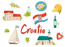 Plan vektoruppsättning av nationella kulturella symboler av Kroatien Gammal arkitektur, mat och drink som seglar yachten, licitar stock illustrationer
