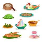 Plan vektoruppsättning av olik malaysisk disk läcker mat asiatisk kokkonst Kulinariskt tema stock illustrationer