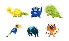 Plan vektoruppsättning av olika djur roliga tecknad filmtecken Fauna- och djurlivtema vektor illustrationer