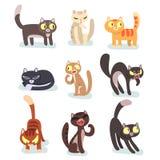 Plan vektoruppsättning av olika katter roliga tecknad filmtecken Hemhusdjur Gulliga tamdjur Beståndsdelar för affisch stock illustrationer