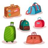 Plan vektoruppsättning av olika påsar Kvinnahandväskor, retro fall med klistermärkear, stads- ryggsäck, stor resväska på hjul stock illustrationer