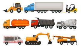 Plan vektoruppsättning av olika typer av medel Halva lastbilar, dumper, matskåpbil, traktor, gaffeltruck och tung konstruktion royaltyfri illustrationer