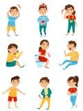 Plan vektoruppsättning av sjuka barn Pyser och flickor med olika sicknesses Förkylning tand smärtar, allergin eller royaltyfri illustrationer