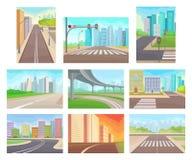 Plan vektoruppsättning av stads- landskap med vägar och höghus Tomma stadsgator Moderna cityscapes stock illustrationer