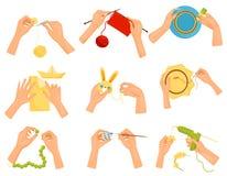Plan vektoruppsättning av symboler som visar olika hobbyer Händer som gör handgjorda hantverk Sticka och att dekorera, målning so royaltyfri illustrationer