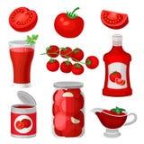 Plan vektoruppsättning av tomatmat och drinkar Sund fruktsaft, ketchup och sås, på burk produkter Naturliga och smakliga produkte vektor illustrationer