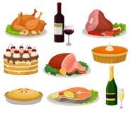 Plan vektoruppsättning av traditionella feriemat och drinkar Smakligt mål och dryck Läcker disk för matställe sött stock illustrationer
