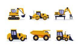 Plan vektoruppsättning av tungt maskineri för byggande plankor för blyertspenna för mått för lie för utrustning för byggnadsritni royaltyfri illustrationer