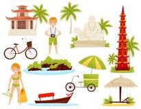 Plan vektoruppsättning av vietnamesiska kulturella objekt Berömda gränsmärken och historiska monument, turister och transport stock illustrationer