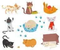 Plan vektoruppsättning med roliga katter Tecknad filmtecken av gulliga tamdjur Beståndsdelar för vykortet, promoaffisch eller royaltyfri illustrationer