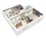 Plan view of an apartmen. T.Ground floor. Clear 3d interior design Royalty Free Stock Image