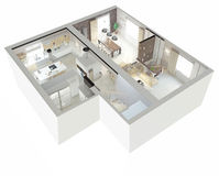 Plan view of an apartment. Ground floor. Clear 3d interior design Royalty Free Stock Photo