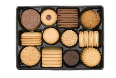 Plan view of biscuits. Plan view of tray biscuits isolated on white background Stock Image