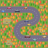 Plan of village. Landscape with the road, autumn forest, cars and houses. Royalty Free Stock Photos