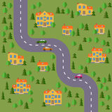 Plan of village. Landscape with the road, forest, cars and houses. Stock Photos