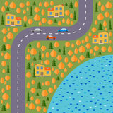 Plan of village. Landscape with the road, forest, lake, cars and houses in the autumn. Stock Photo