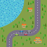 Plan of village. Landscape with the road, forest, lake, cars and three houses. Royalty Free Stock Photos