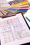 Plan von Hausplänen lizenzfreies stockfoto